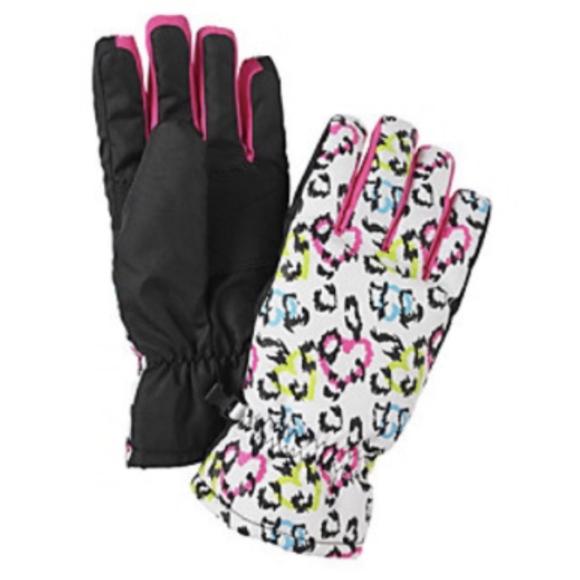 a31c8cd29 Mambo Accessories | New Girls White Leopard Print Winter Ski Gloves ...